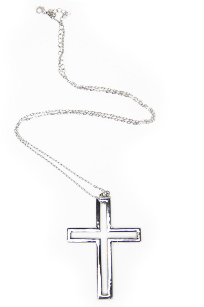 HOLLOW CROSS NECKLACE - Silver (Final Sale)