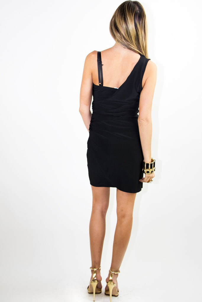 ONE SHOULDER DRESS WITH SEQUIN - Black/Gold - Haute & Rebellious