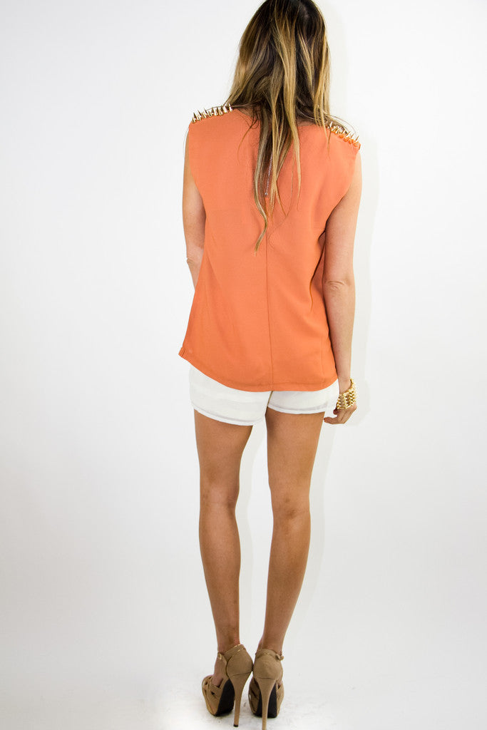 SLEEVELESS BLOUSE WITH GOLD SHOULDER STUDS - Copper