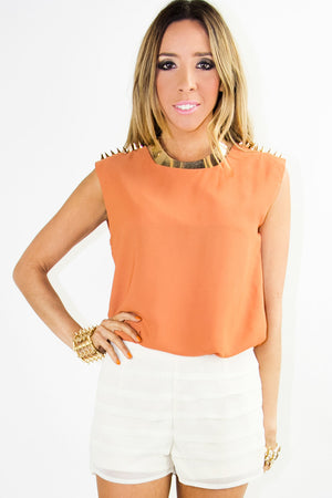 SLEEVELESS BLOUSE WITH GOLD SHOULDER STUDS - Copper - Haute & Rebellious