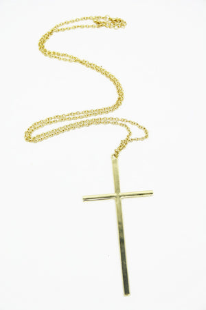 LARGE GOLD CROSS NECKLACE - Haute & Rebellious