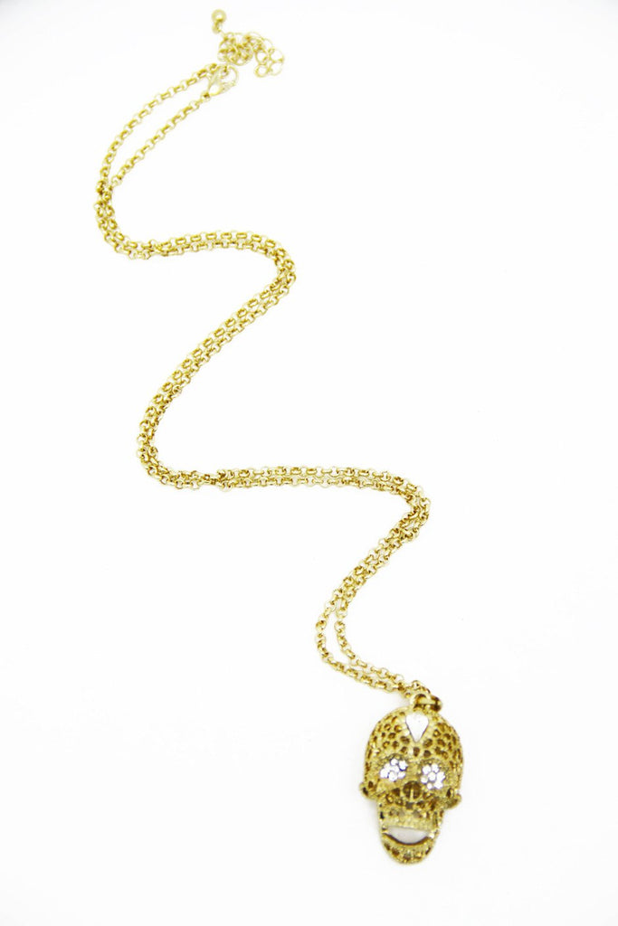 CRYSTAL EYED SKULL NECKLACE - Gold (Final Sale) - Haute & Rebellious