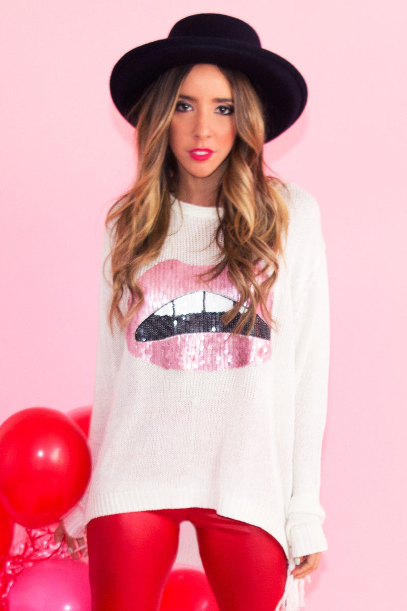 RED LIPS FRINGE SWEATER - White - Haute & Rebellious