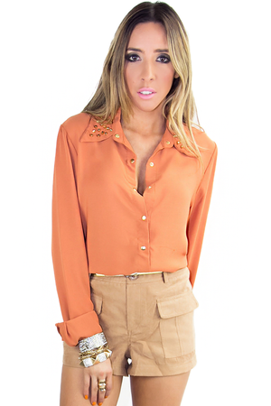 LONG SLEEVE BLOUSE WITH STUDDED NECK - Copper - Haute & Rebellious