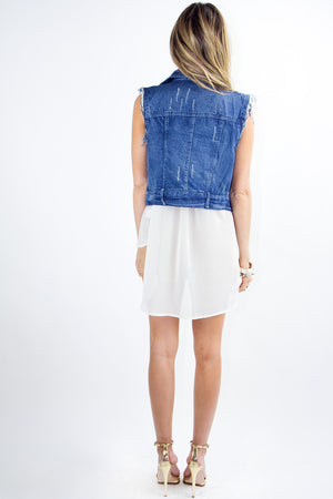STUDS AND CRYSTALS DENIM VEST - Haute & Rebellious