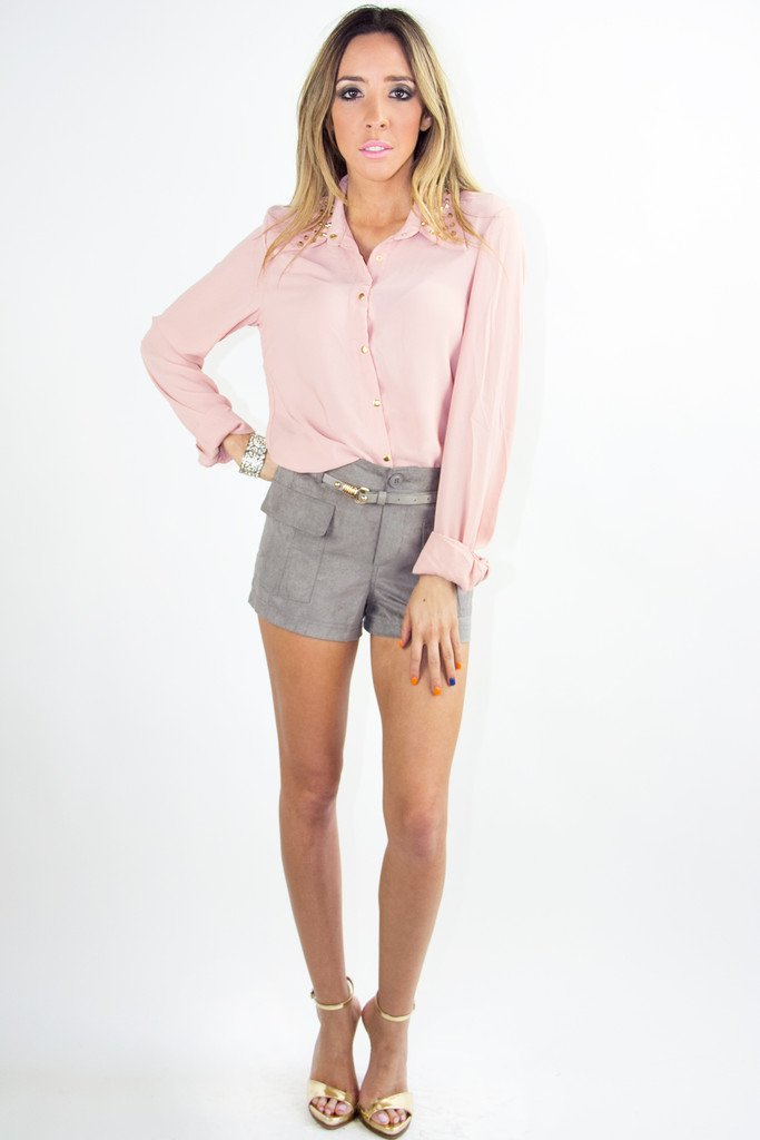LONG SLEEVE BLOUSE WITH STUDDED NECK - Rose (Final Sale)