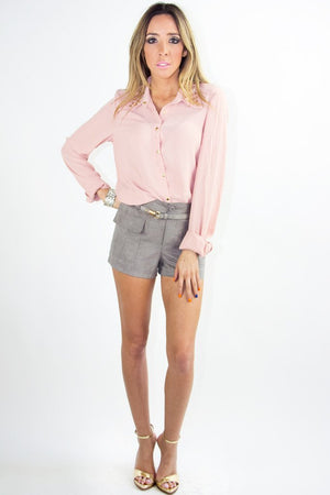 LONG SLEEVE BLOUSE WITH STUDDED NECK - Rose (Final Sale) - Haute & Rebellious