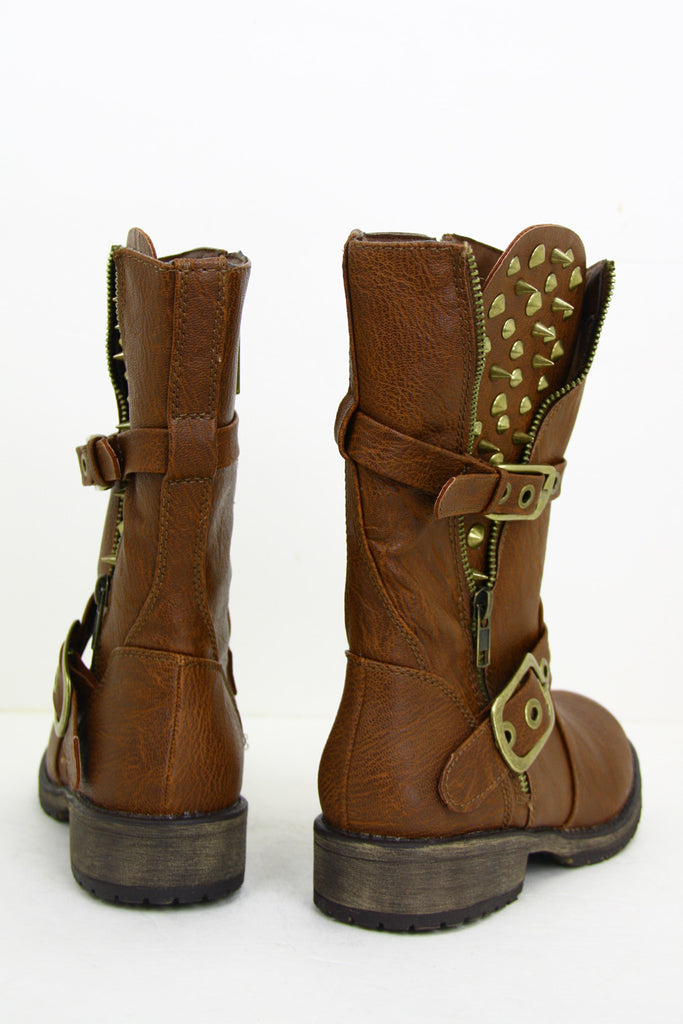 STUDDED COMBAT BOOT - Brown