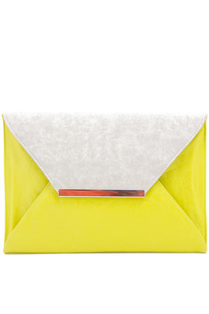 OVERSIZED COLOR BLOCK CLUTCH - Yellow/White - Haute & Rebellious