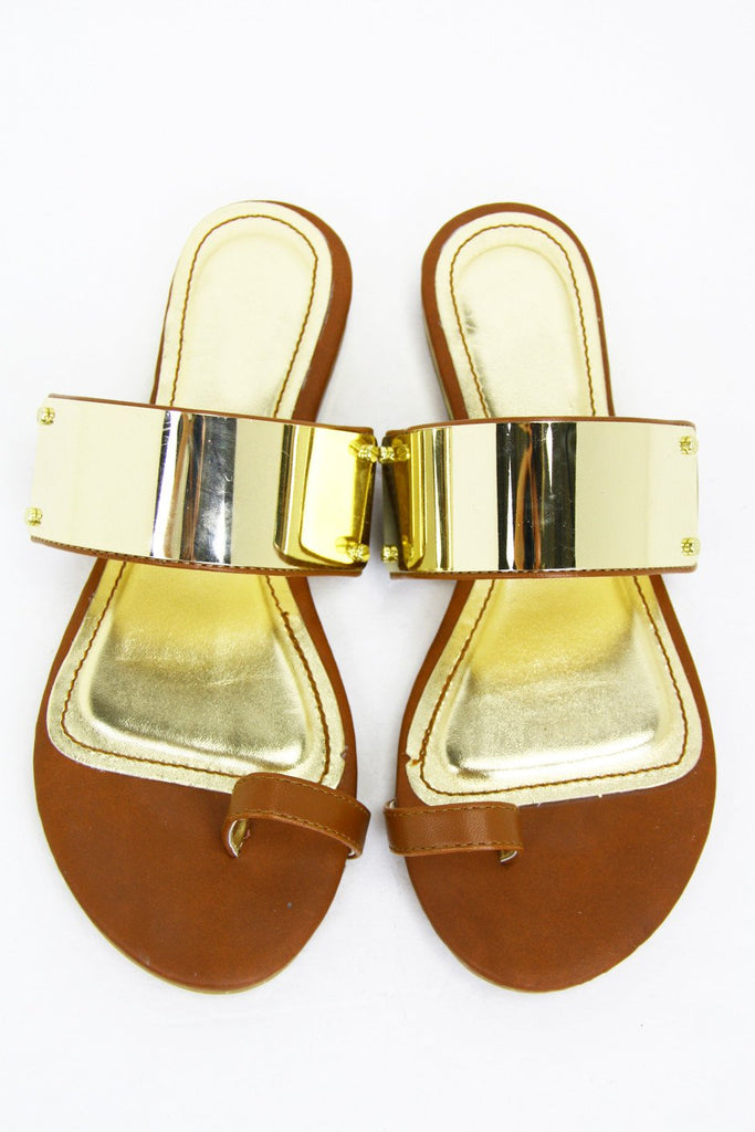 GOLD PLATED SANDAL - Brown