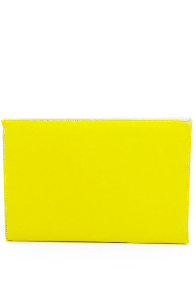 OVERSIZED COLOR BLOCK CLUTCH - Yellow/White