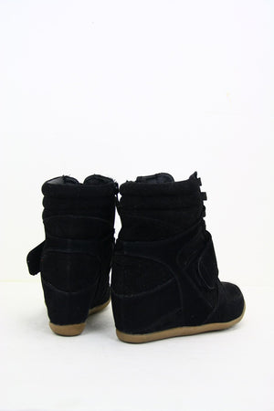 BLACK WEDGE SNEAKER - Haute & Rebellious