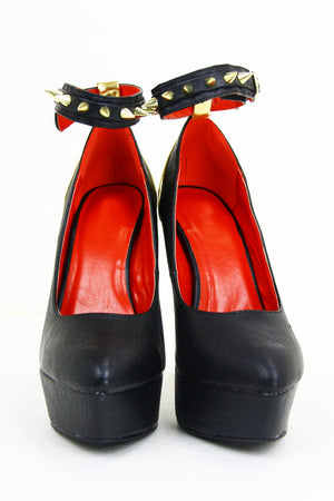 SPIKE STRAP HEEL - Black - Haute & Rebellious