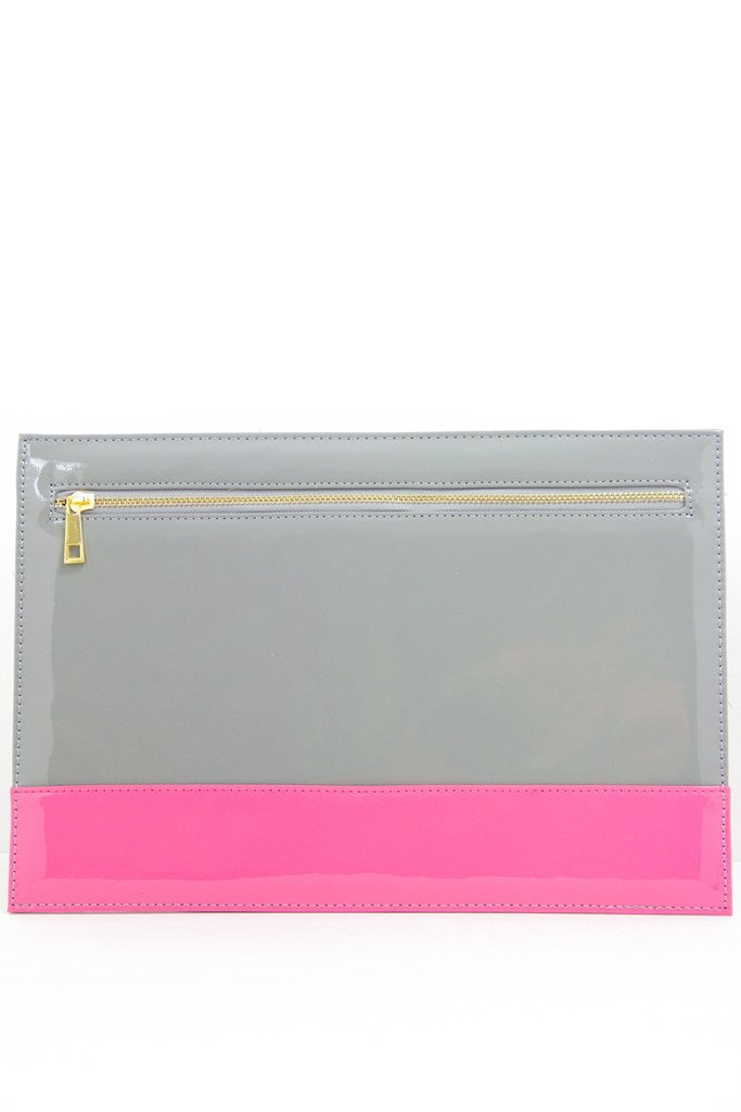 COLOR BLOCK CLUTCH - Gray & Pink