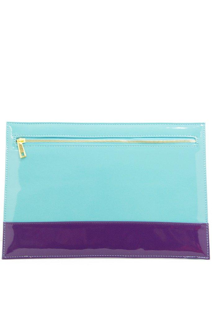 COLOR BLOCK SLIM CLUTCH - Mint/Purple - Haute & Rebellious