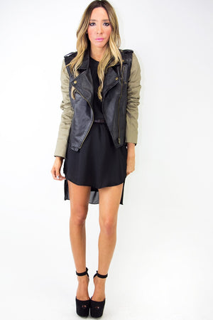 CONTRAST LEATHER JACKET - Black/Olive - Haute & Rebellious