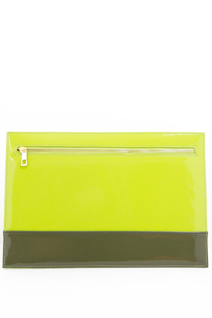 COLOR BLOCK CLUTCH - Olive/Lime (Final Sale)