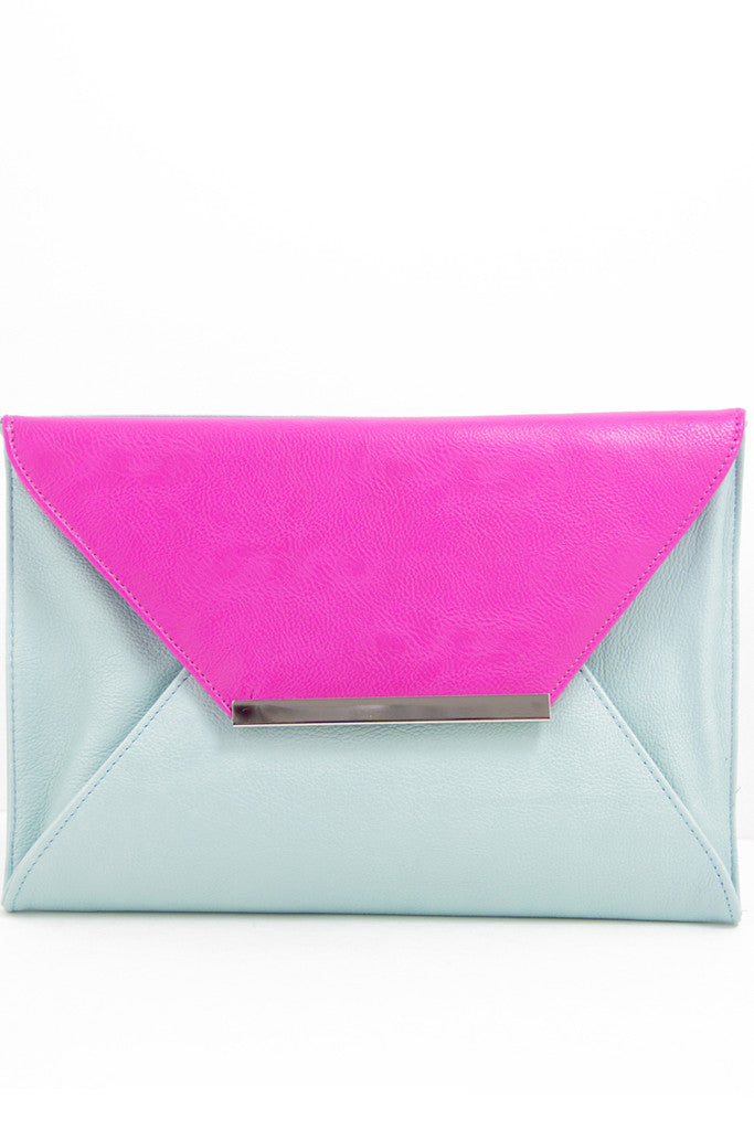 OVERSIZED COLOR BLOCK CLUTCH - Fuchsia/Mint