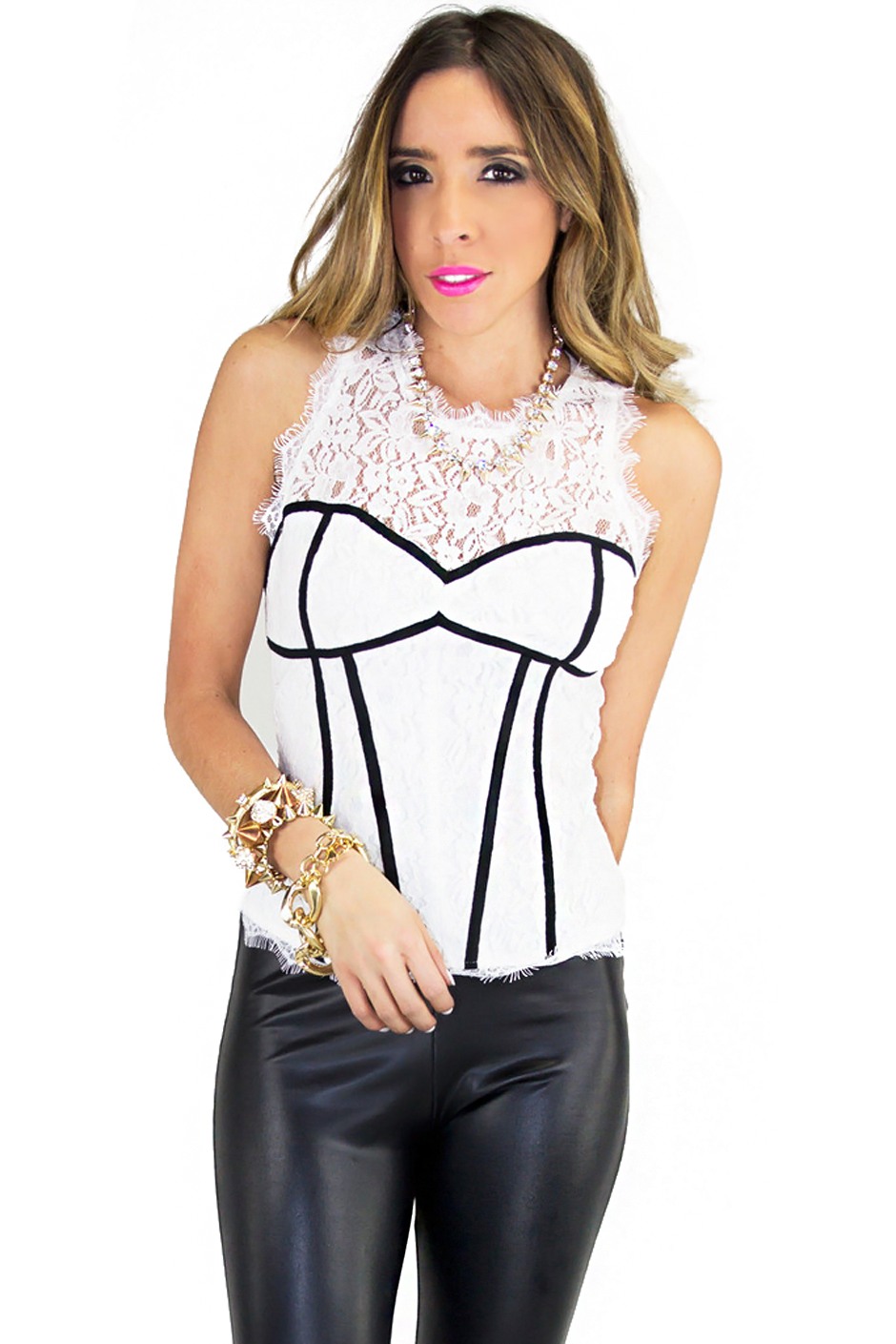 LACE BODYCON CORSET TOP (Final Sale) - Haute & Rebellious