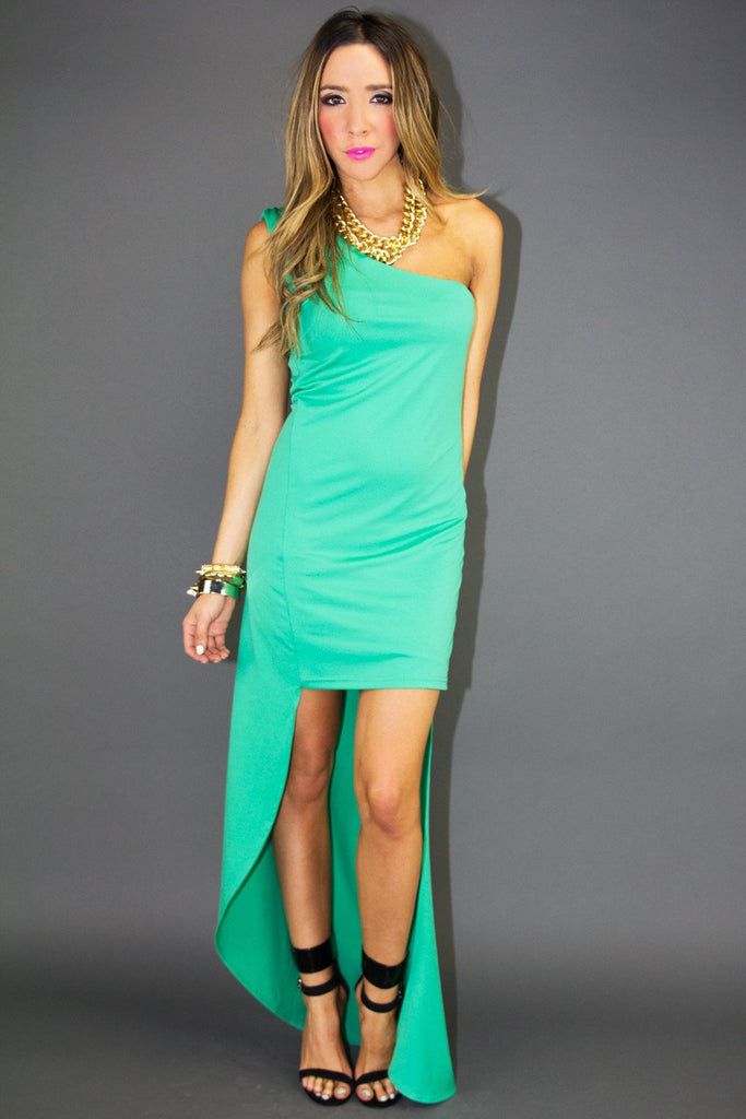 ELECTRIC MINT GREEN HIGH-LOW DRESS (Final Sale)