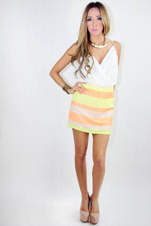 STRIPE NEON SEQUIN SKIRT (Final Sale) - Haute & Rebellious