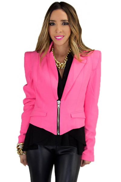 JANE NEON ZIP BLAZER - Pink (Final Sale)