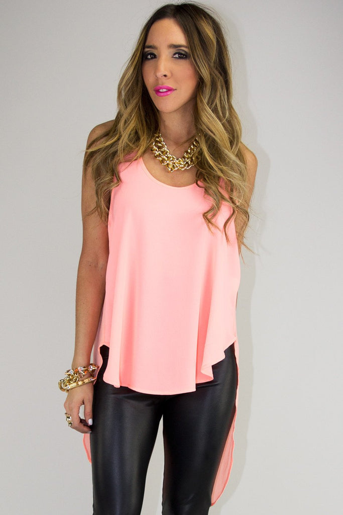ELLA CHIFFON HIGH-LOW TOP - Neon Peach