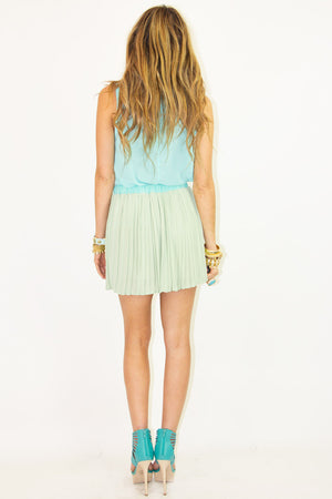 TWO-TONE PLEATED SKIRT - Green/Mint - Haute & Rebellious