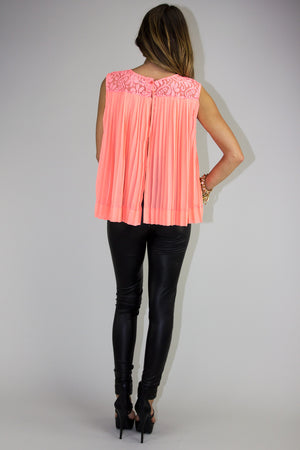 SLIT BACK LACE TOP - Neon Peach - Haute & Rebellious