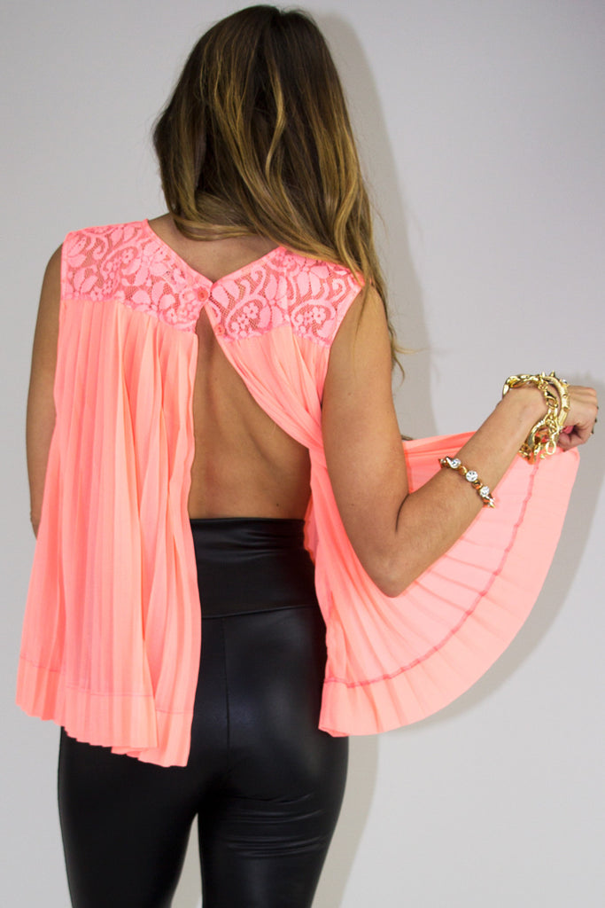 SLIT BACK LACE TOP - Neon Peach