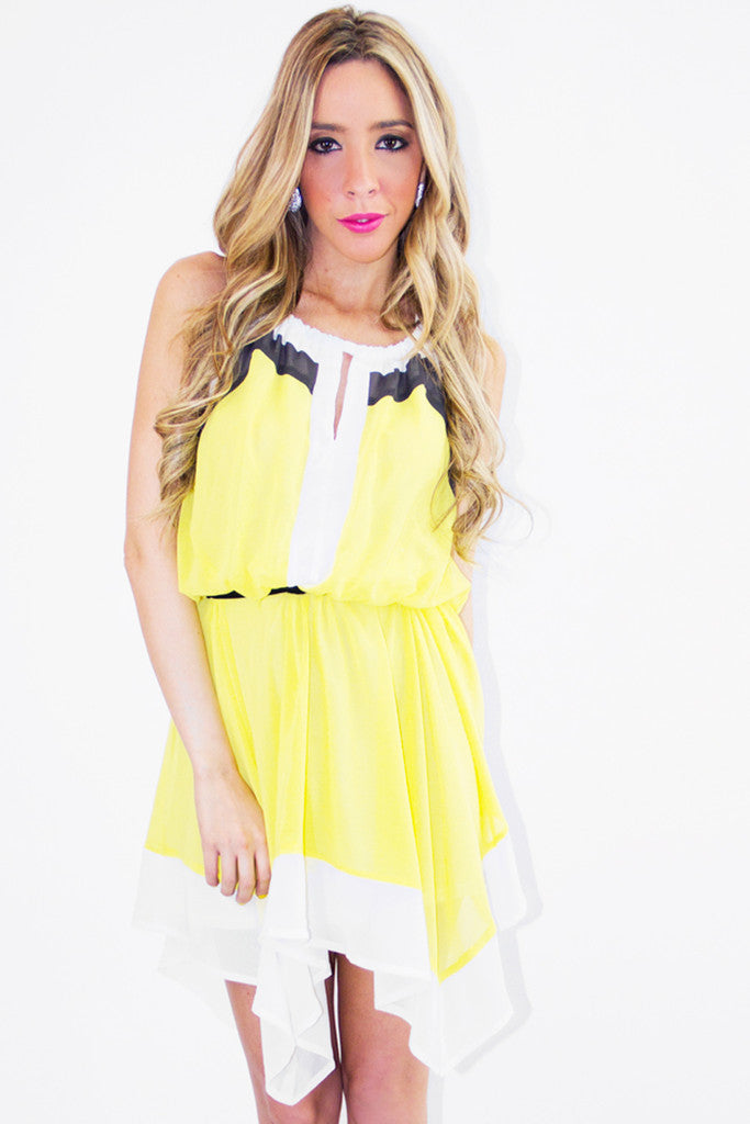 ZOE CHIFFON DRESS - Yellow - Haute & Rebellious