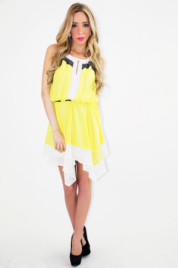 ZOE CHIFFON DRESS - Yellow