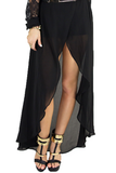 HIGH-LOW PETAL CUT SKIRT - Black
