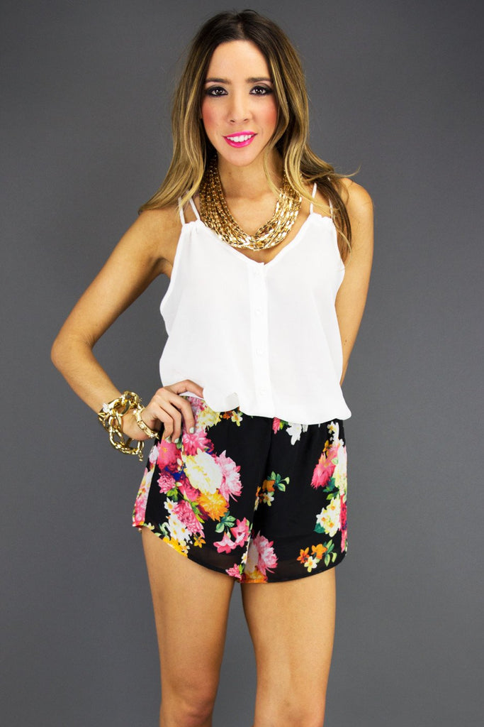 FLORAL SHORTS - Black - Haute & Rebellious