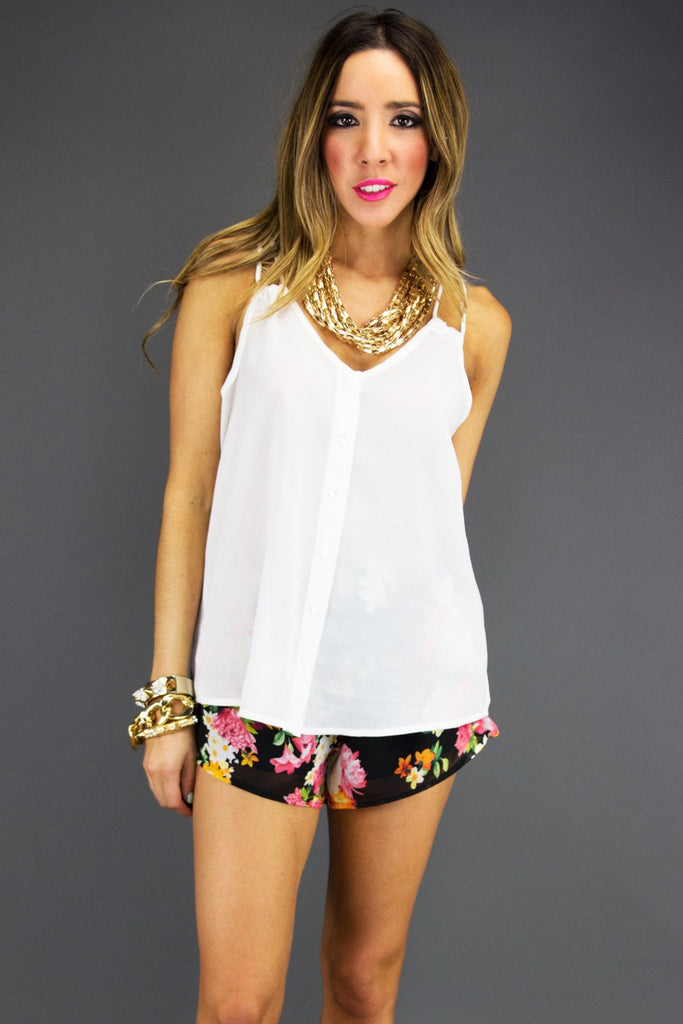DOUBLE STRAP CHIFFON TOP - White - Haute & Rebellious