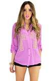 STUDDED CROSS CHIFFON BLOUSE - Purple (Final Sale)