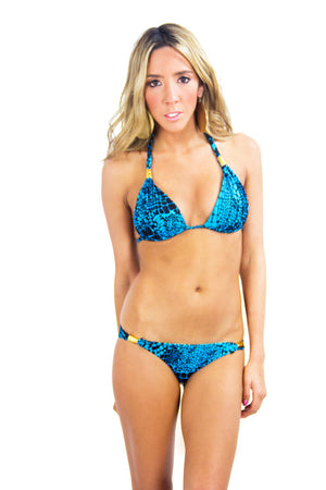 REPTILE SKIN PRINT BIKINI SET - Aqua (Final Sale) - Haute & Rebellious