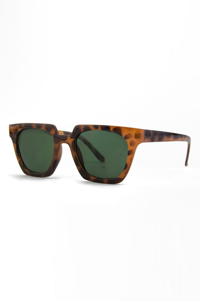 RECTANGULAR FRAME SUNGLASSES - Tort/Green
