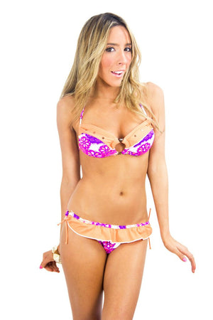 FLORAL CONTRAST RUFFLE BIKINI SET (Final Sale) - Haute & Rebellious