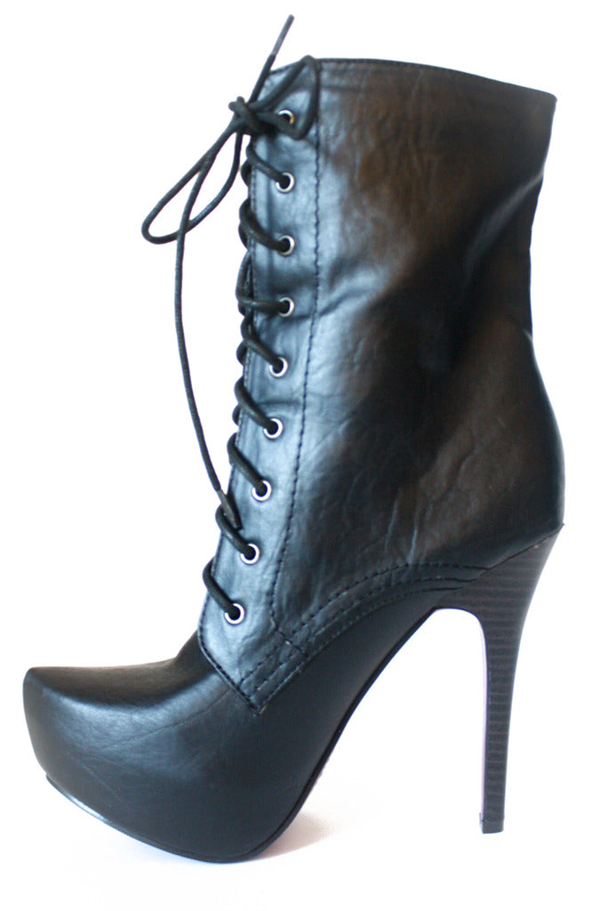OVER THE ANKLE LACE BOOTS - BLACK