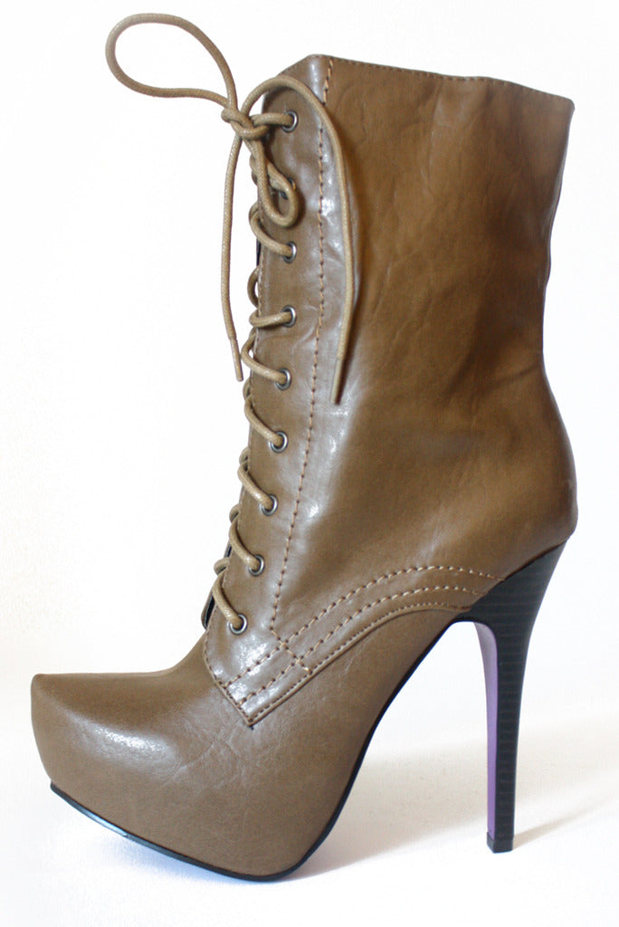 OVER THE ANKLE LACE BOOTS - TAUPE