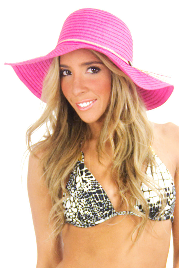 SUMMER WIDE BRIM HAT - Fuchsia