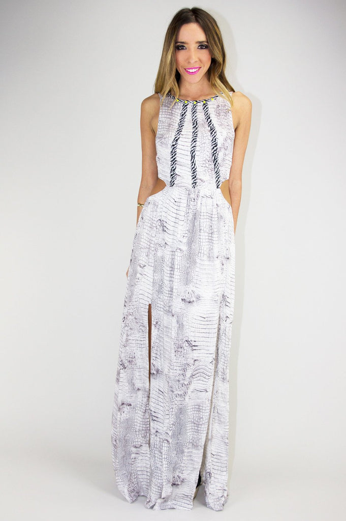 MIA SNAKE PRINT CUTOUT DRESS