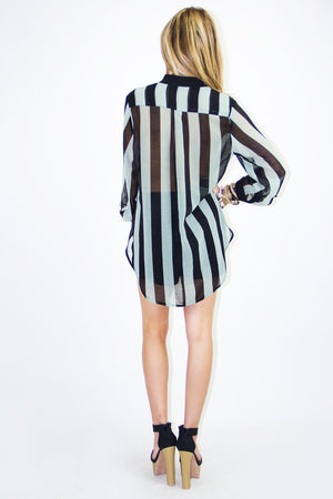 STRIPED BASIC CHIFFON DRESS SHIRT - Mint/Black - Haute & Rebellious