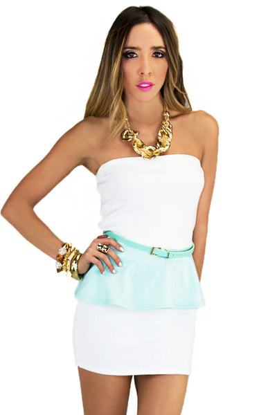 PASTEL PEPLUM TOP - Mint/White (Final Sale)