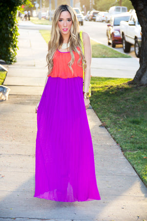 ORANGE AND PURPLE PLEATED CHIFFON MAXI - Haute & Rebellious