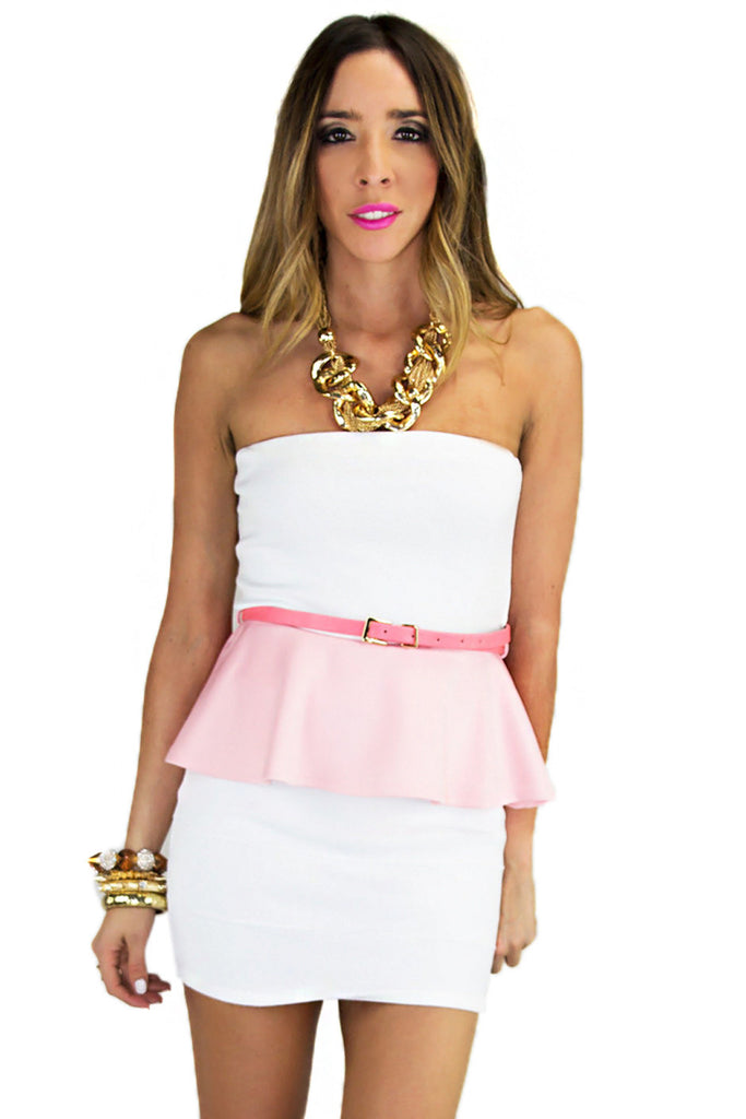 PASTEL PEPLUM TOP - Pink/White (Final Sale)