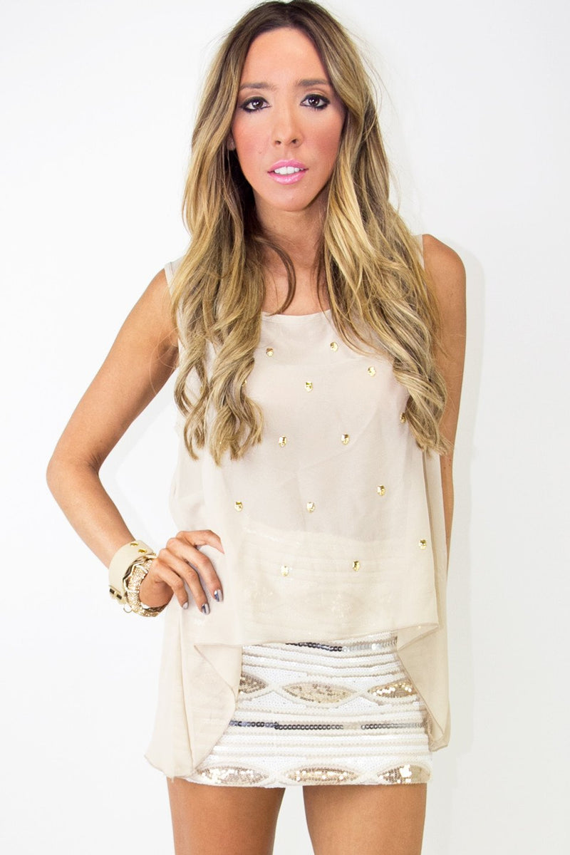 CHIFFON BLOUSE WITH GOLD SKULLS - Beige - Haute & Rebellious
