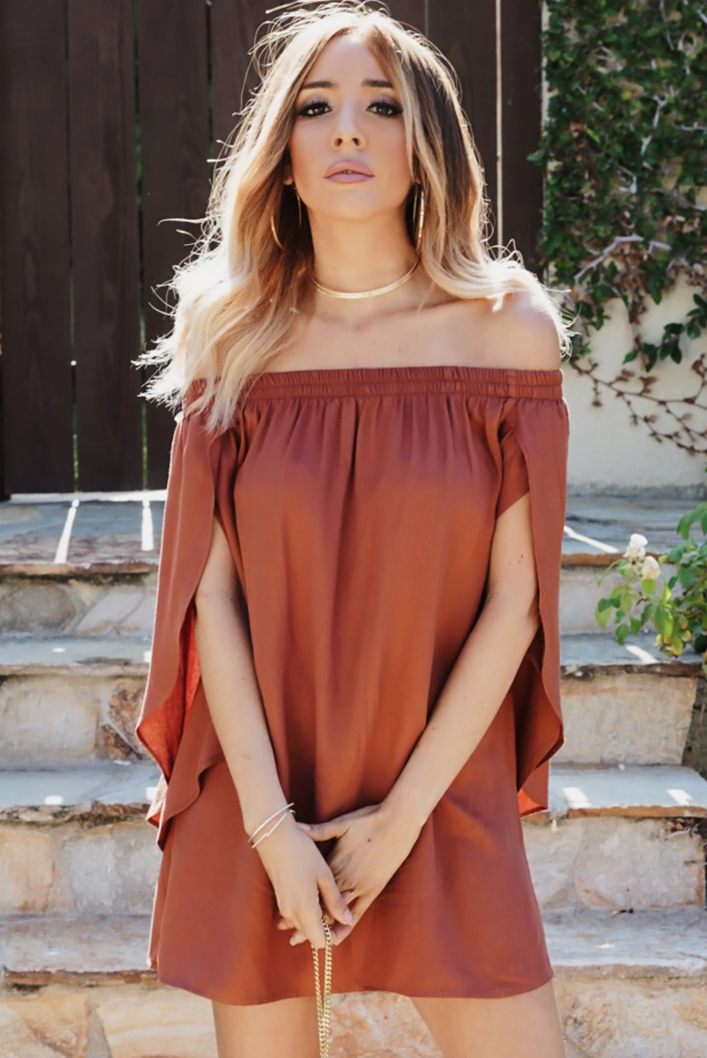 After You Off-Shoulder Tunic - Rust - Haute & Rebellious