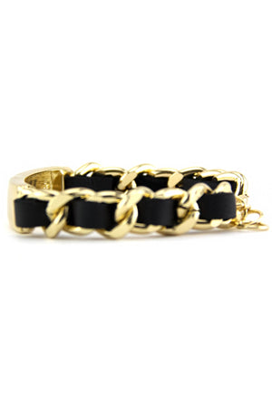 BRAIDED CHAIN LINKED ID BRACELET - Black/Gold - Haute & Rebellious